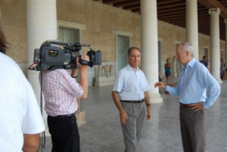 filming at the Agora museum with Pascalis Kitromelides